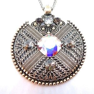OPAL BLACK IRON WORK MEDALLION NECKLACE NEW